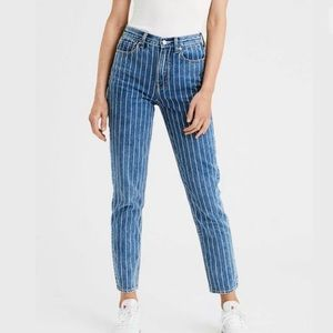 American Eagle Striped Cropped Mom Jeans NEW